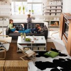 Amazing Living Room TV Sets with Cowhide Rugs