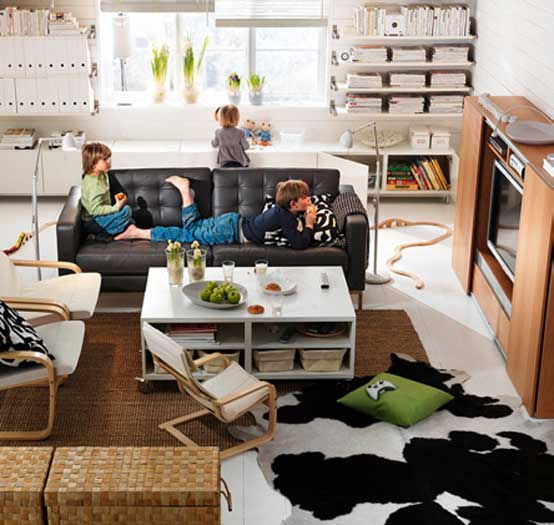 Living Room Decor Ikea: Amazing Living Room TV Sets With Cowhide Rugs