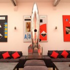 Amazing Metal Spaceship Sculpture and Red and Black Wall Art-in Paris Loft