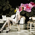 Artistic Flower Wallpaper Design With Sexy Models