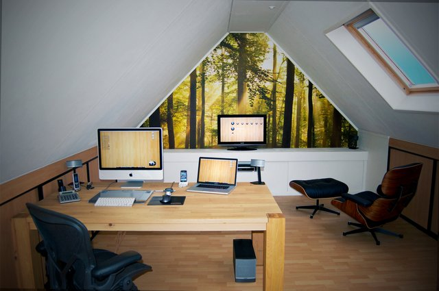 Attic Workspace with Wood Funiture Decorations