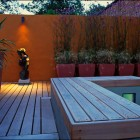Awesome Back Yard Modern Deck Orange Wall Design