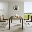 Awesome Dining Set with Stainless Steel Chandelier by Team 7