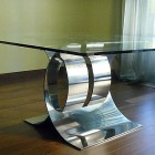 Awesome Glass Top Dining Table with Stainless Steel Buffer