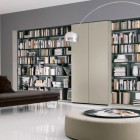 Awesome Home Library Bookshelves with Brown Sofa