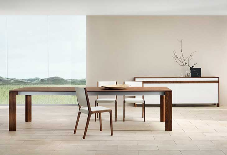 Awesome Modern Home Sustainable Wood Dining Table with Glass Wall