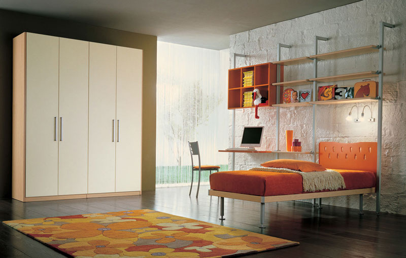 Awesome Tan Color Kids Room with White Block Wall Decor