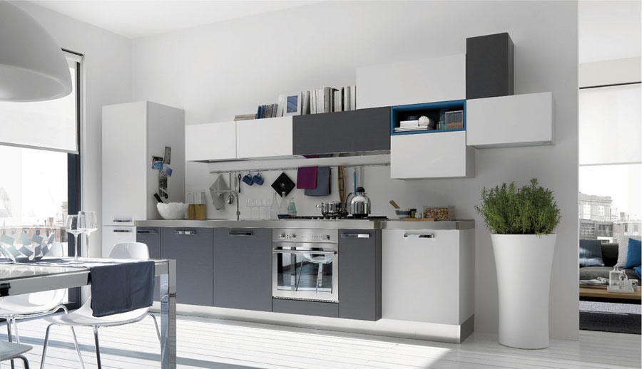 White and Grey Kitchen with Blue Accents  Interior Design Ideas