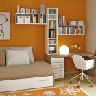 Beautiful Orange and White Young Workspace with Snoopy Poster in the Wall