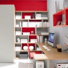 Beautiful Red and White Teenager Bedroom Design with Mac Desk