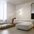 Beautiful White Living Room Artificial Light