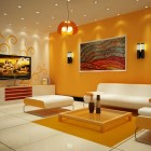 Beautiful Yellow Living Room with Modern Ceiling Light