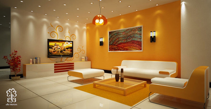 Beautiful yellow living room with modern ceiling light for Yellow modern living room ideas