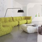 Big Green Couches in Plain Living Room Decor