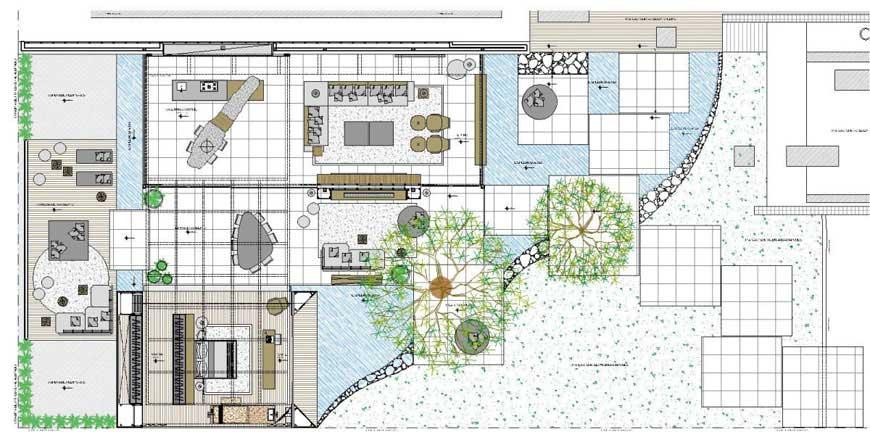 Floor Plan Sketch of Indoor Outdoor House