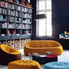 Black Book Rack in Living Room with Orange and Blue Sofas