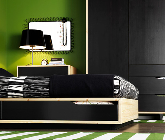 Black and green bedroom from ikea with green rug strip Green and black bedroom