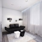 Black and White Room with Exotic Black Sofa