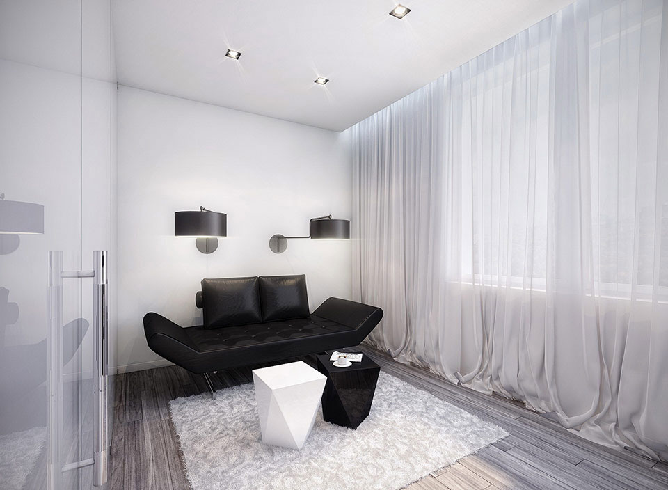 Black And White Room With Exotic Black Sofa Interior