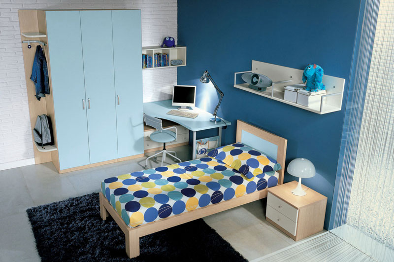 Blue Childern Room with White Brick Wall