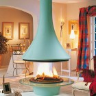 Blue Luxury Hanging Fireplace Ideas