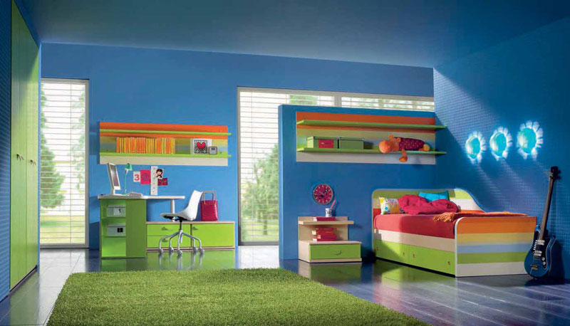 blue and green childerns room with study desk interior design ideas
