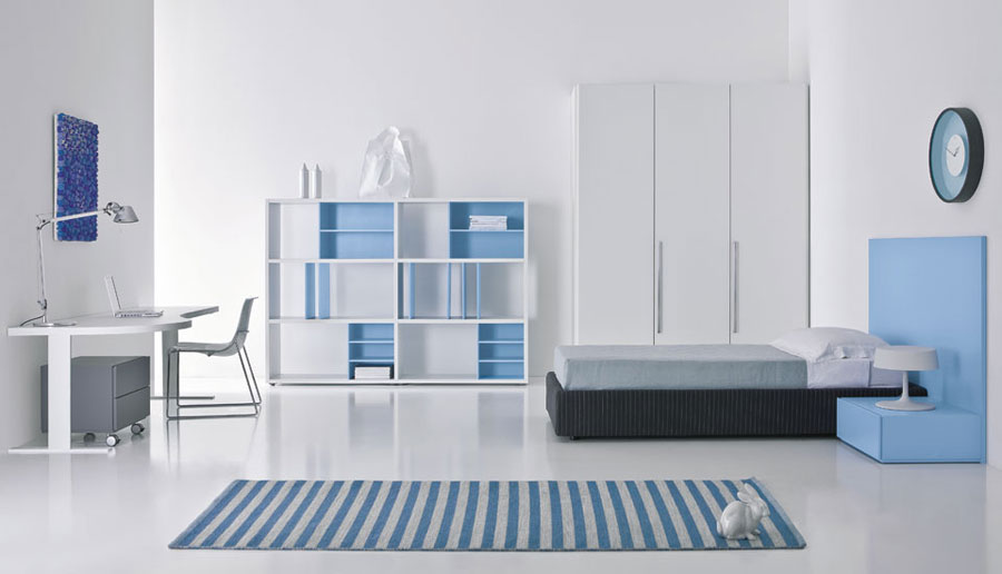Blue and White Teen Room with Stripe Rug. Contemporary Teen Bedroom Design ...