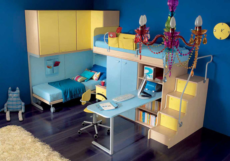 blue and yellow teen room with twin bunk beds interior design ideas. Black Bedroom Furniture Sets. Home Design Ideas