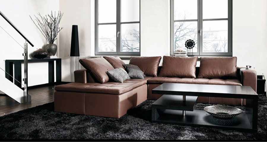 Classy Living Room with Brown Sofas