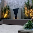 Contemporary Courtyard Water Feature Garden Great Accent Lighting