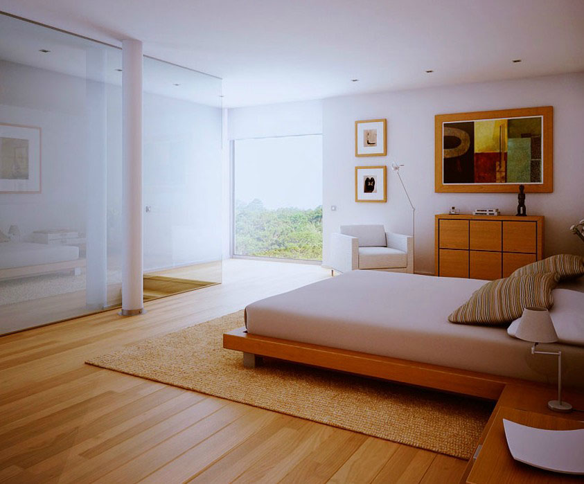 Contemporary White Bedroom Wood Floors Design 2011 Interior Design Ideas