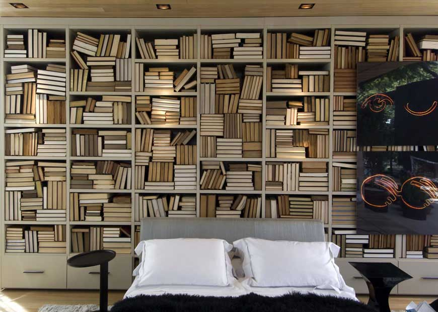 Cool Bedroom with Lots of Wood Bookshelves