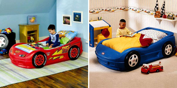 Cool Blue and Red Car Bed for Kids Room - Interior Design Ideas