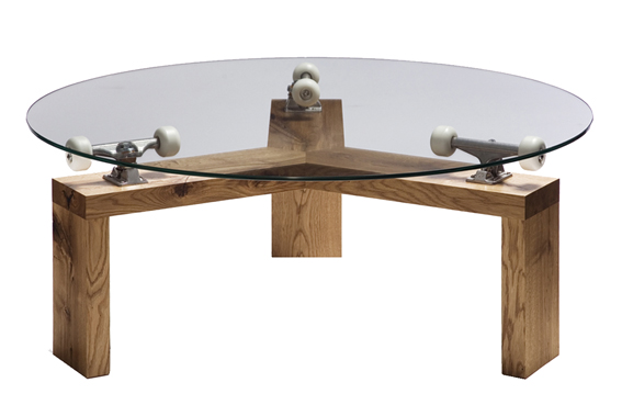 Cool Glass Top Dining Table with Trucker Skateboard Truck