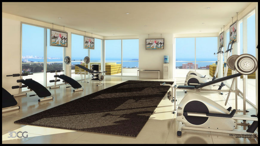 Cool home gym in loft design ideas interior