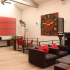 Cool Loft with Red Art and Black Furniture in Paris