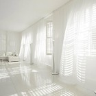 Cool White Room flowing Curtains Decor
