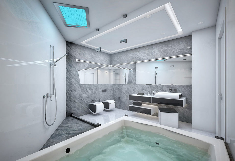 cool white and grey bathroom with large bathtub  interior