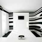 Elegant White Hotel Room with Black Striped Wallpaper