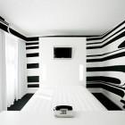 Elegant White Hotel Room with Black Striped Wallpaper