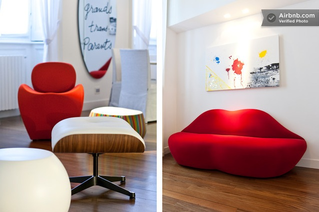 Funky Milan Red Furniture In Small Space Interior Design