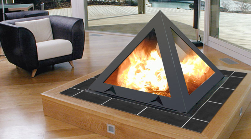 Futuristic Pyramid Fireplace 2011 Interior Design Ideas