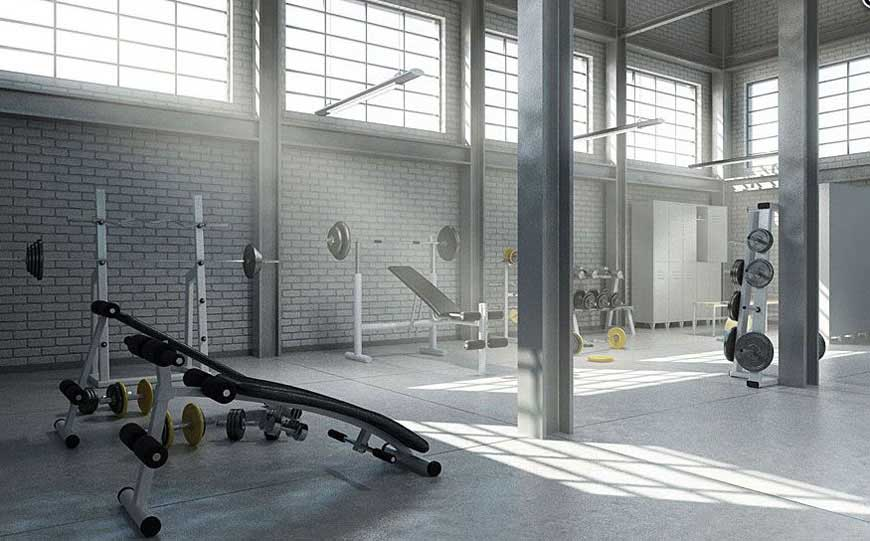 Gorgeous evermotion home gym former warehouse interior for Home gym interior design