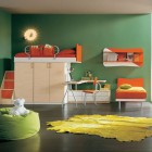 Green Bedroom for Childern with Unique Wall Lights