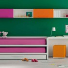 Green Wall Kids Room with Orange and Pink Furniture
