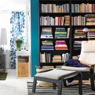 IKEA Living Room Design withe Giant Bookcase and Stipe Rug
