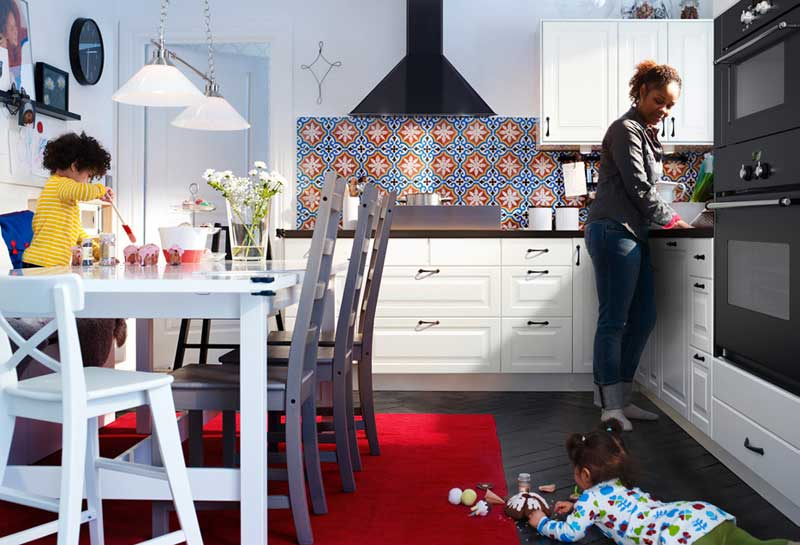 IKEA White Kitchen with Red Rug Design 2011