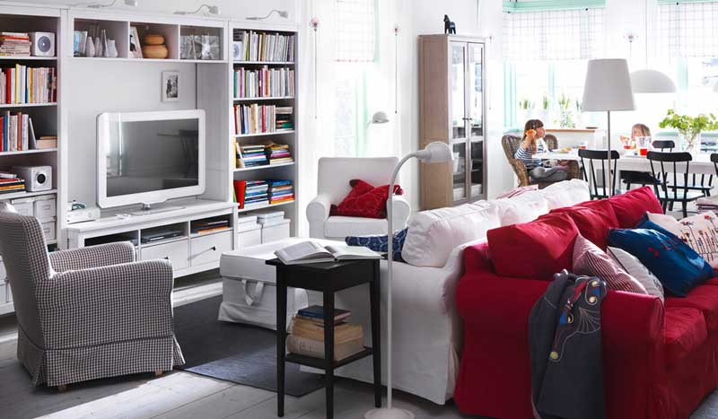 Ikea white living room desing with red and white sofa interior design ideas - Red and white living rooms ...