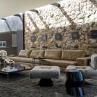 Indoor Outdoor Loft Space with Beige Leather Sofa