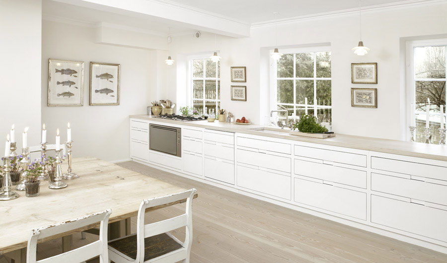 Large Kitchen with Candle Dining Room